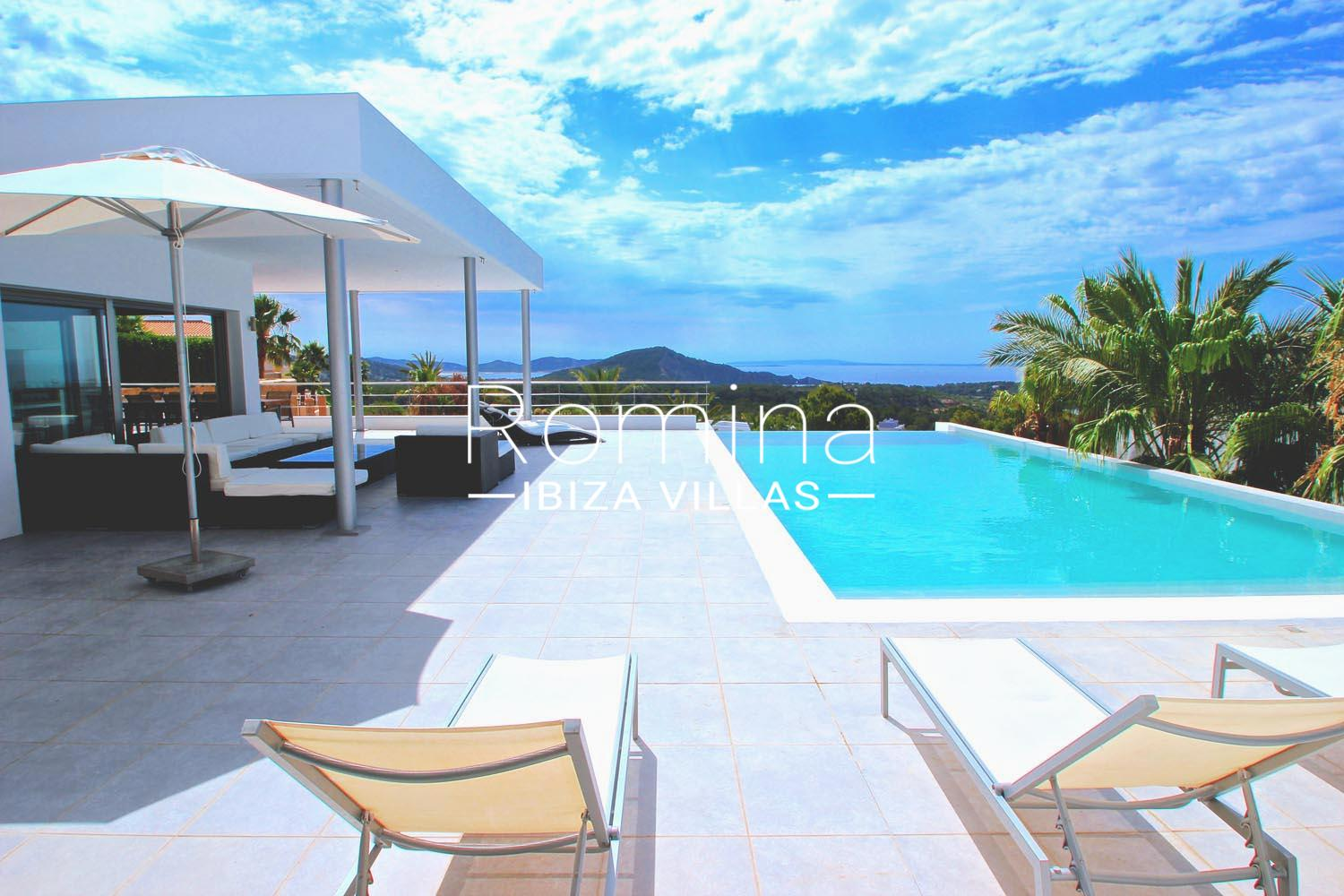 Villa clev1pool sea view terrace lounge romina ibiza villas for Terrace lounge