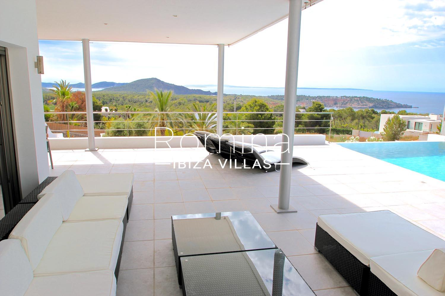 Villa clev1pool terrace lounge sea view romina ibiza villas for Terrace lounge
