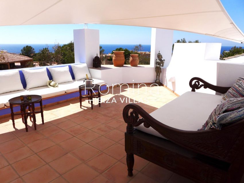 Calo azur ibiza - 1sea view upper terrace lounge