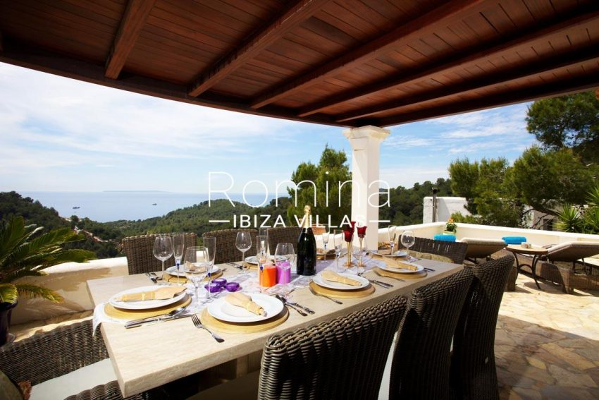 casa roca llisa g ibiza-1terrace pergola dining area sea views