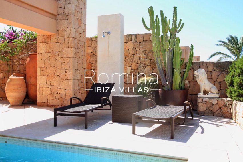 villa kali ibiza-2pool terrace desck chairs