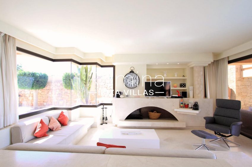 villa kali ibiza-3 living room fireplace