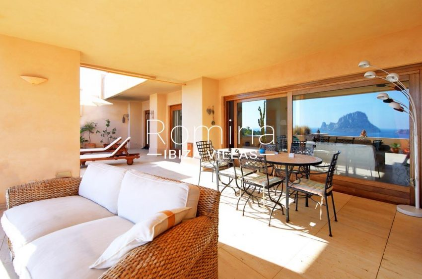 apto vista vedra ibiza-2terrace living and dining area