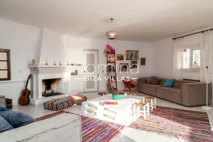 villa mar ibiza-3living room fireplace