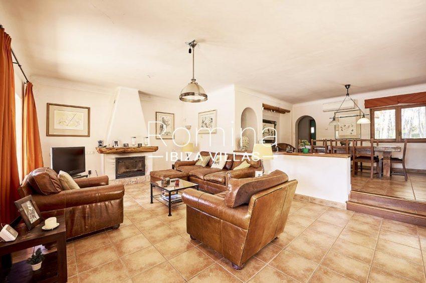 villa samani ibiza-3living dining room fireplace