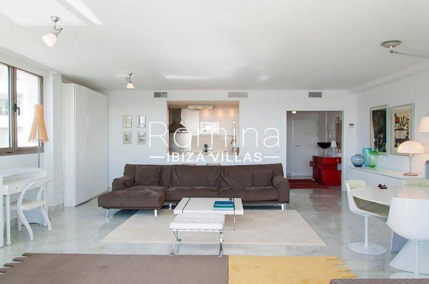 apartamento miramar-3living room kitchen dining area