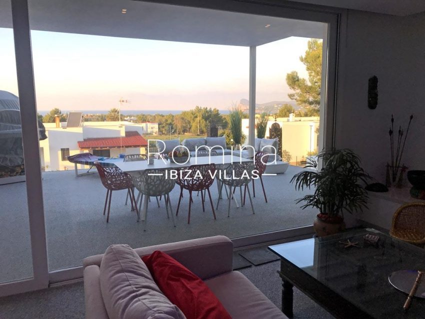 villa blanca ibiza-3living room terrace sea view