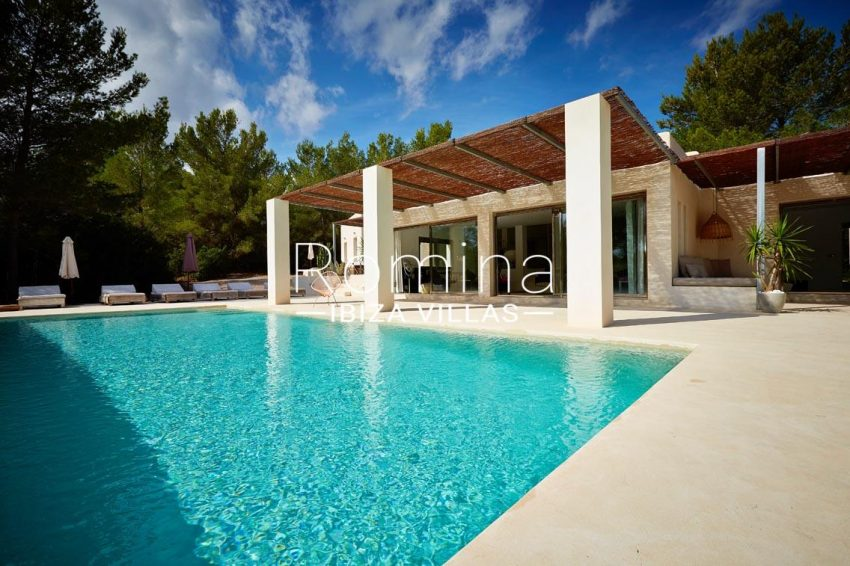 villa design ibiza-2pool terrace pergola