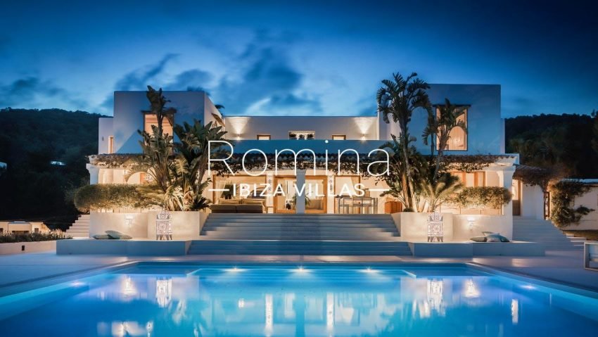 villa everland ibiza-2pool facade evening