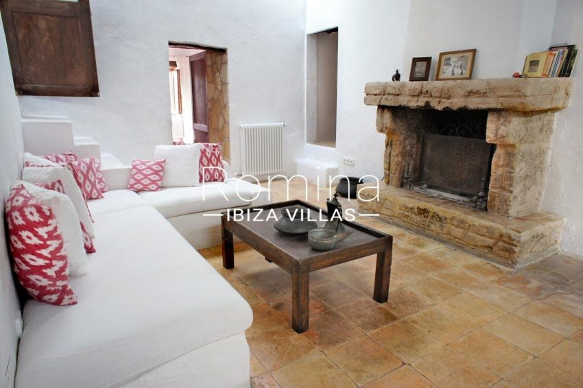 finca gibert ibiza-3living room fireplace