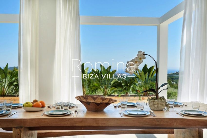 villa adelfa ibiza-3zdining table sea view