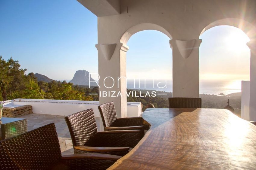 villa illes ibiza-1covered terrace dining area sea view vedra