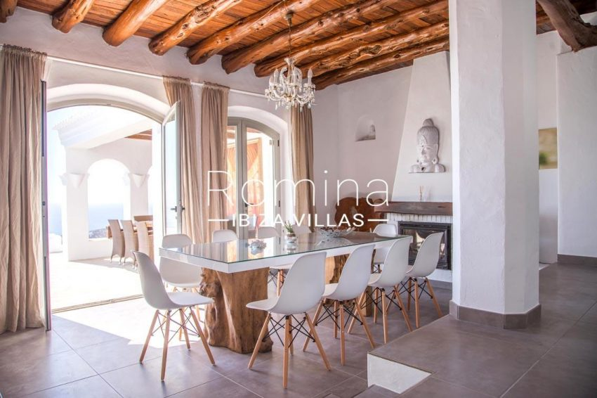 villa illes ibiza-3dining room fireplace sea view