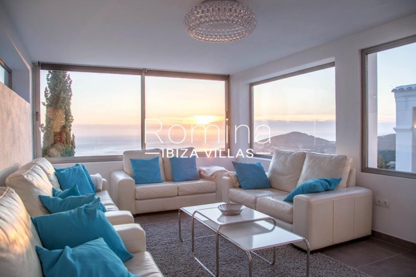 villa illes ibiza-3living room sea view sunset