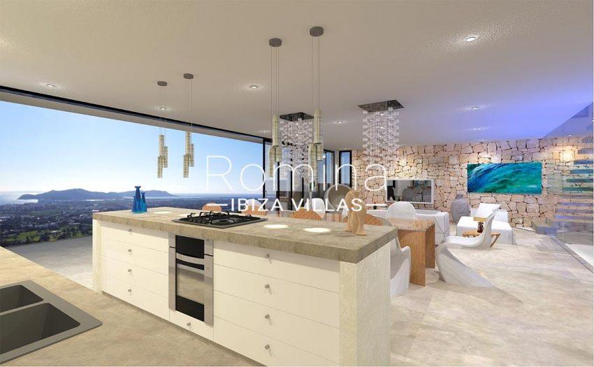 proyecto villa moderna ibiza-3zkitchen sea view