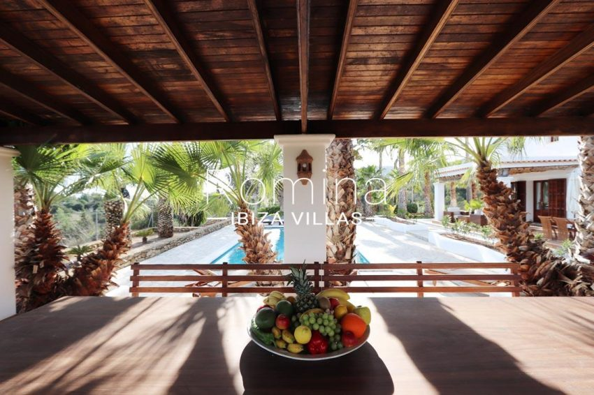 villa alix ibiza-2pool porch dining area2