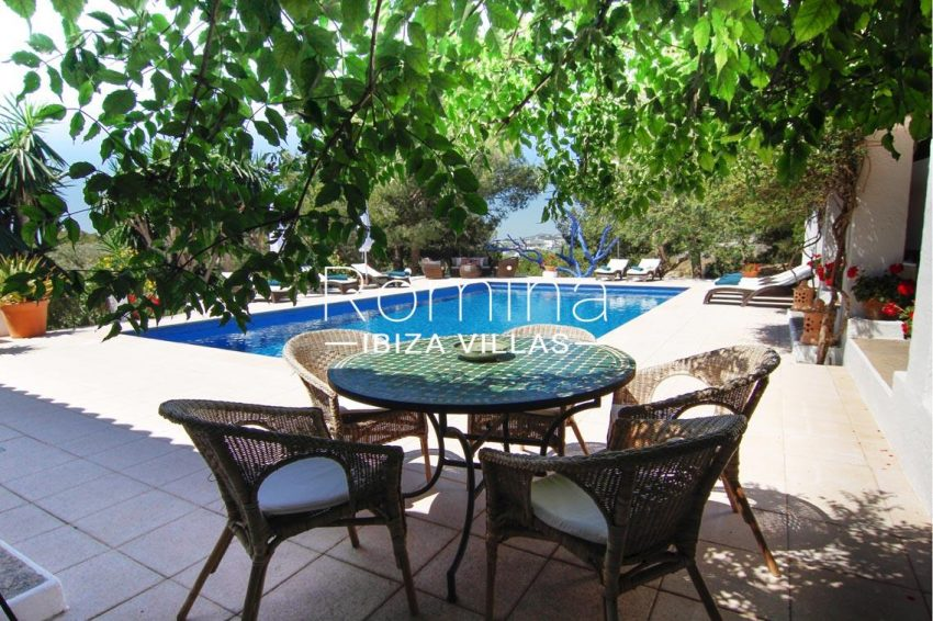 villa begonia ibiza-2pool terrace dining area