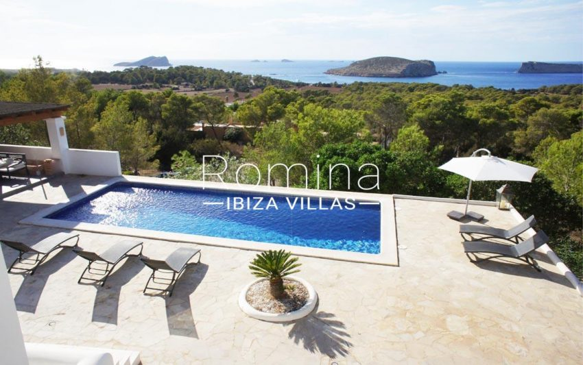 villa bella ibiza-1pool terraces sea view islets