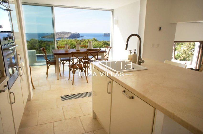 villa bella ibiza-3zkitchen dining ara sea view