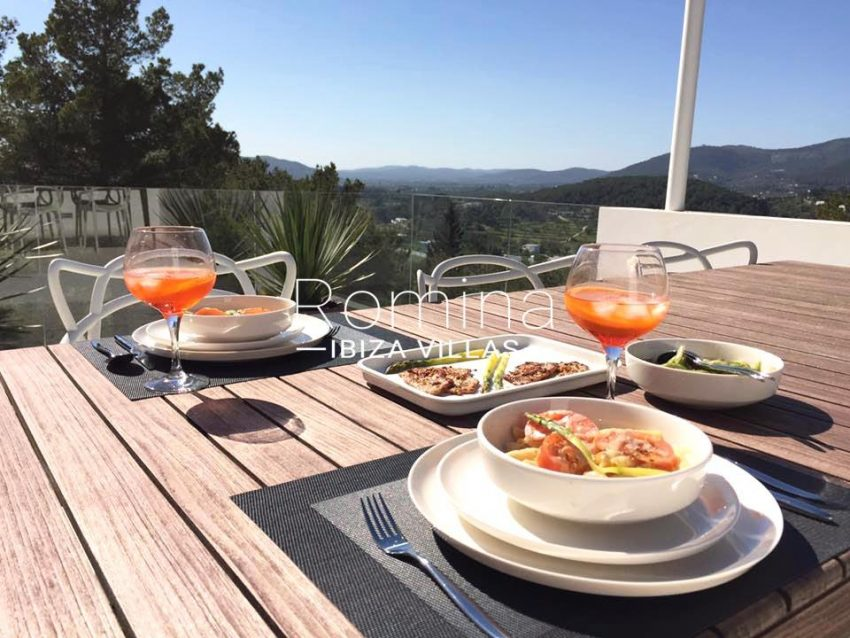 villa sati ibiza-1roof terrace dining area view
