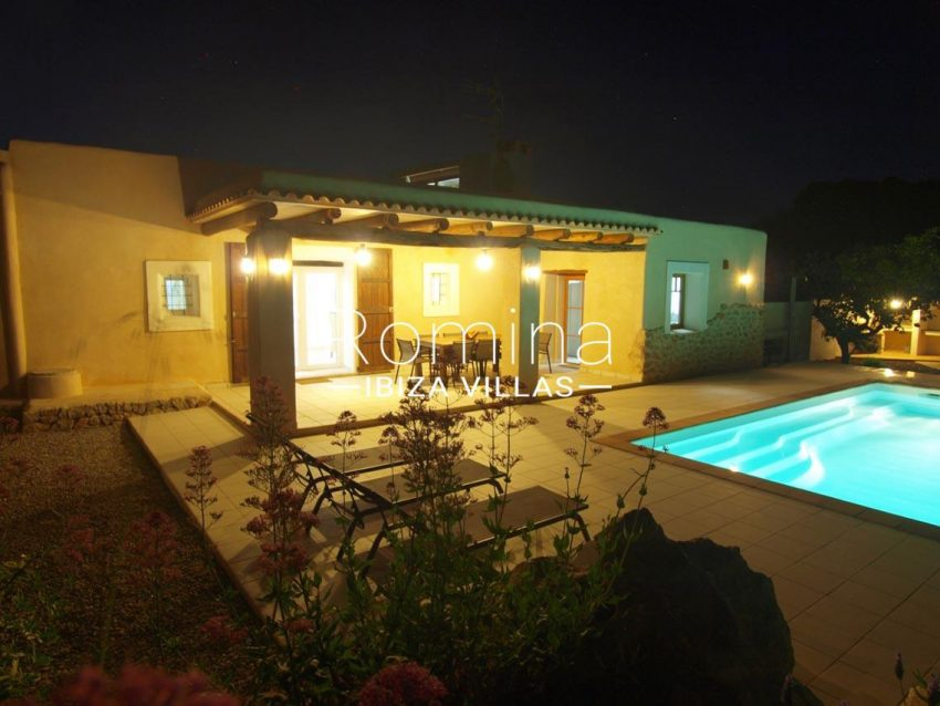 casa vergel ibiza-2pool facade porch by night2