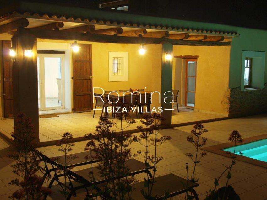 casa vergel ibiza-2pool facade porch dining area by night