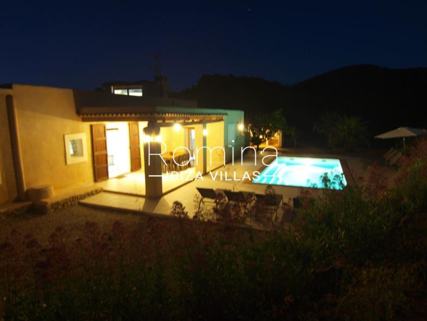 casa vergel ibiza-2pool facade porche by night