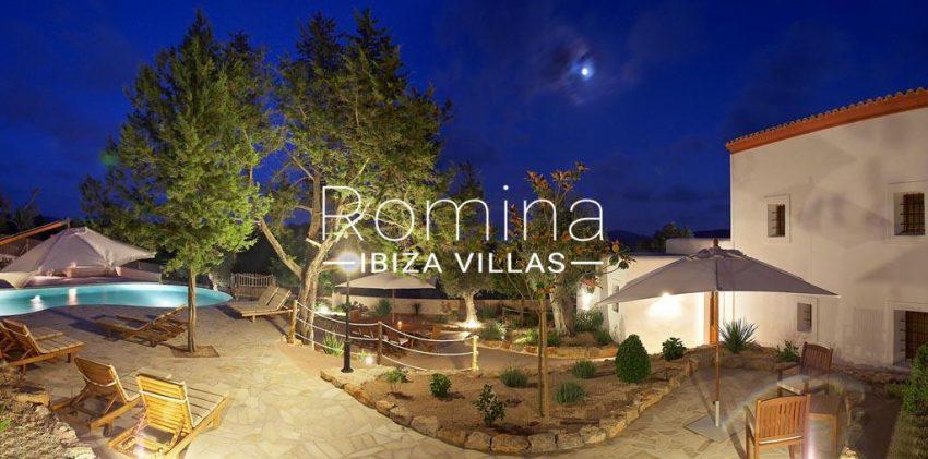 finca kanya ibiza-2pool terrace house by night