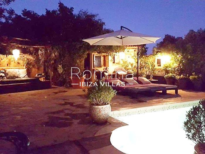 villa maisy ibiza-2pool terrace by night