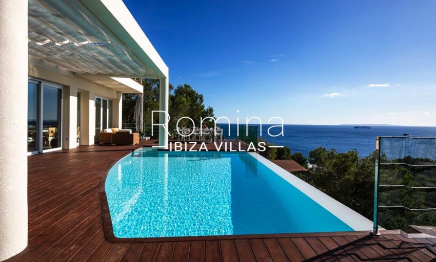 villa sedna ibiza-1pool terrace dining area sea view