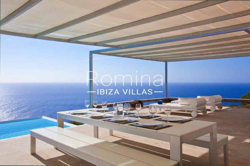 villa agapanthe ibiza-1terrace dining area pool sea view t
