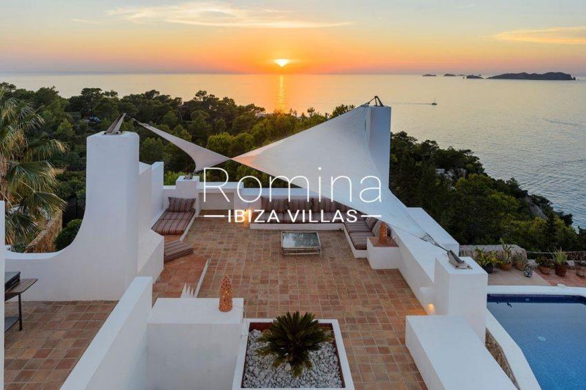 villa artemis ibiza-1terraces pool sea v iew sunset
