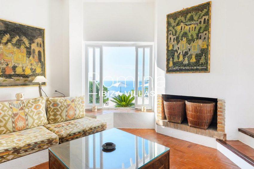 villa artemis ibiza-3living room fireplace