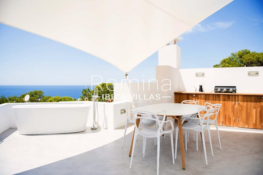 villa aurelia ibiza-1terrace sail dining area kitchen bath sea views