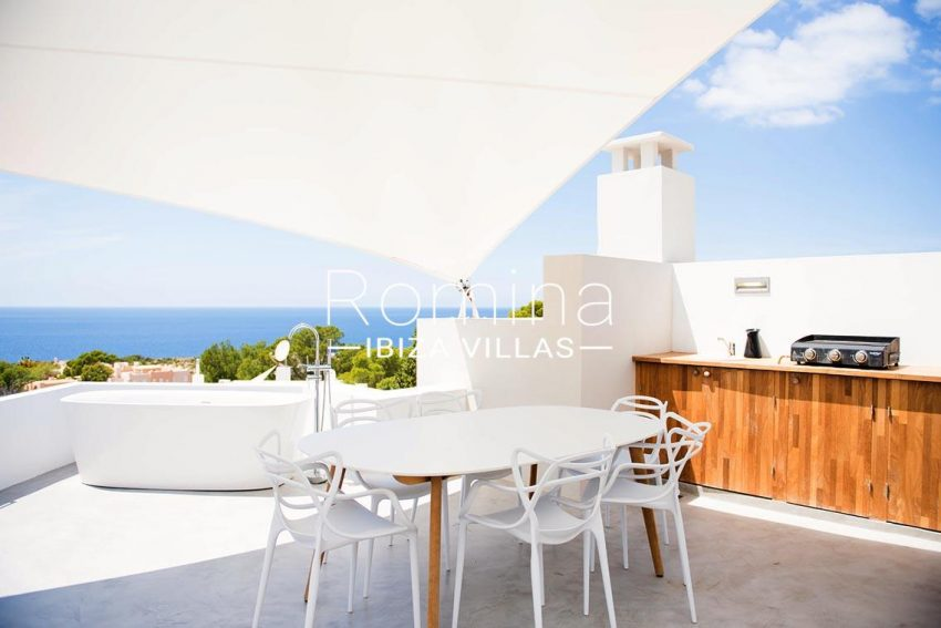 villa aurelia ibiza-1terrace sail outdoor kitchen bath sea views