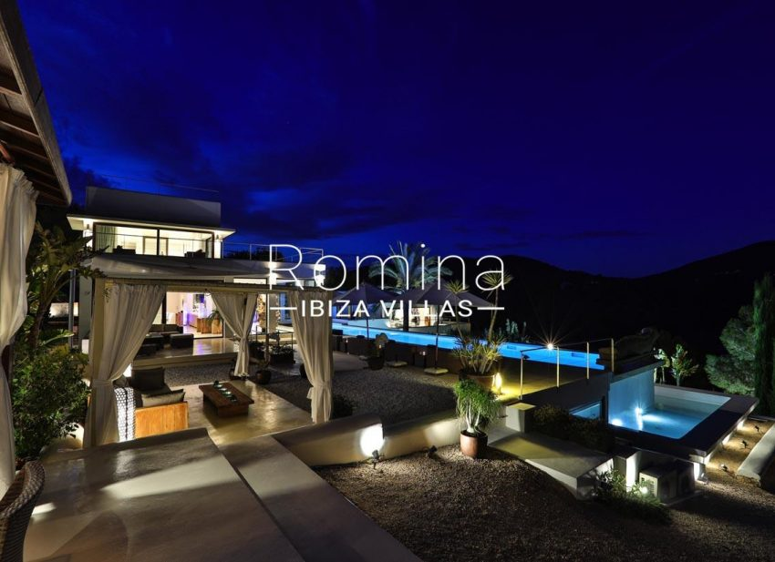 villa blue bay ibiza-2pool terraces by night