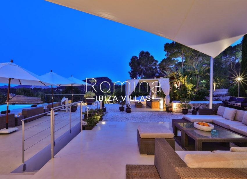 villa blue bay ibiza-2pool terraces evening