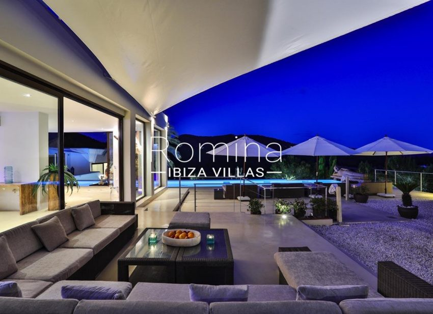 villa blue bay ibiza-terrace by night