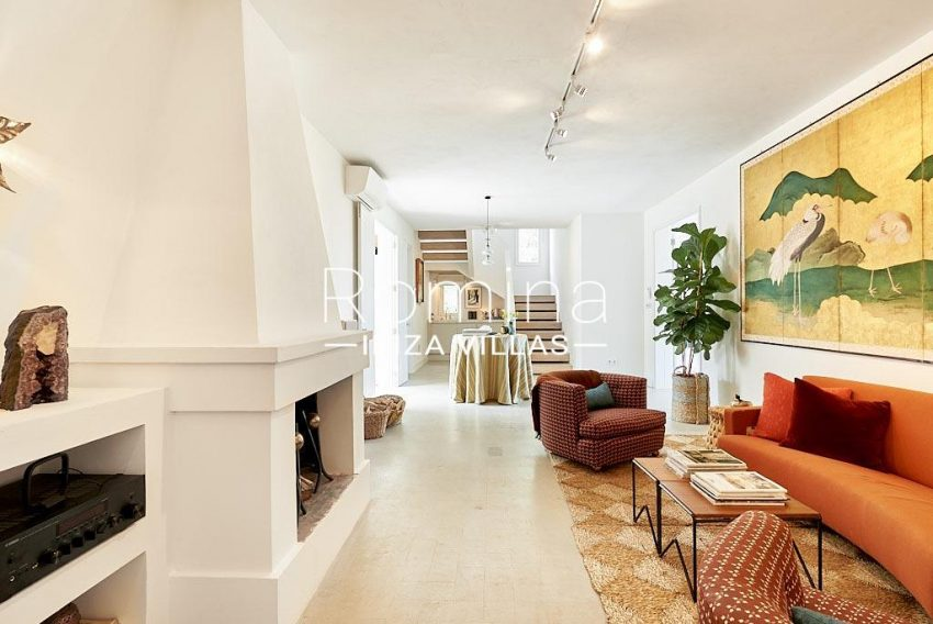 villa punta galera ibiza-3living room fireplace