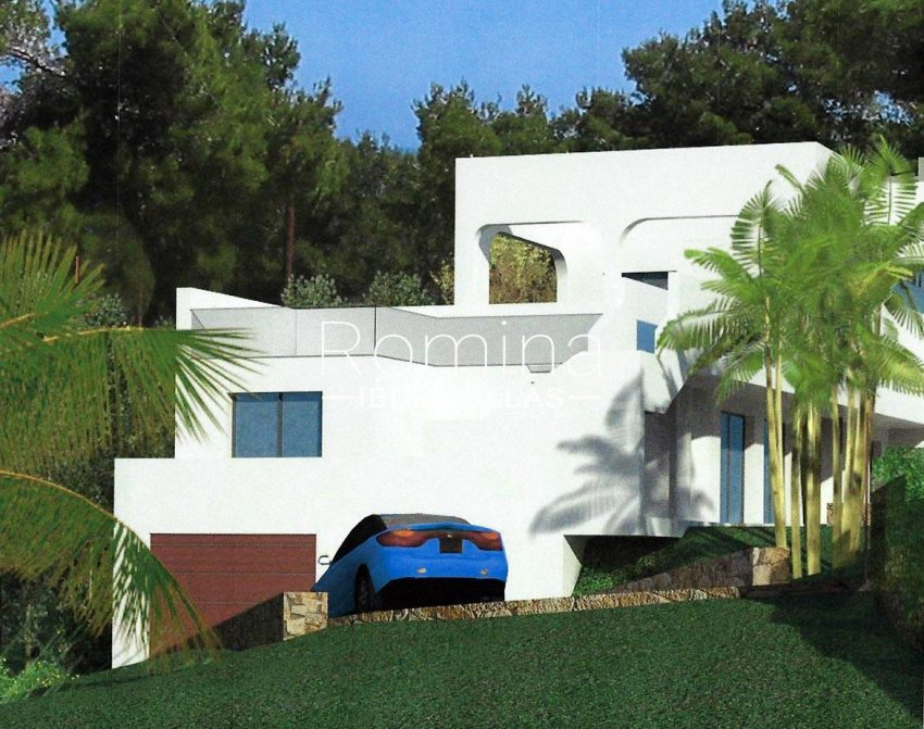proyecto villa mar ibiza-6render side facade garage