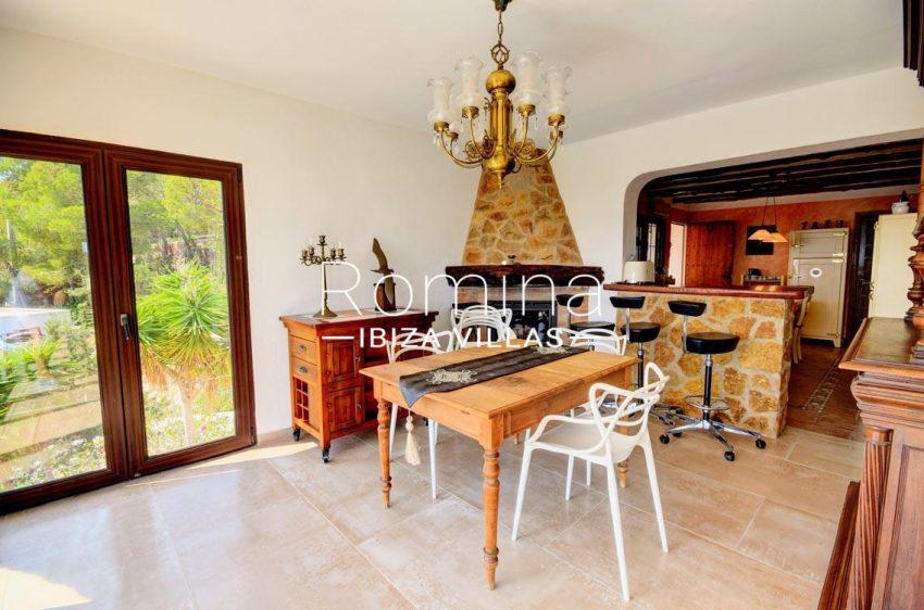 villa gio ibiza-3zdining room fireplace