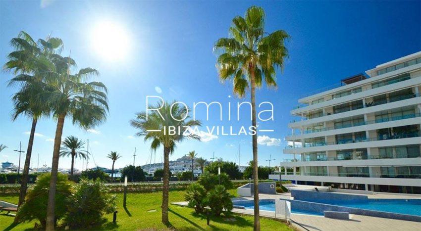 romina-ibiza-villas-rv734-apto-miramar-paseo1-1pool facade gardens sea view