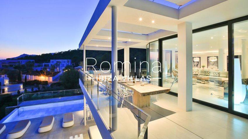 romina-ibiza-villas-rv-771-79-villa-calista-2terrace upstairs dining area by night
